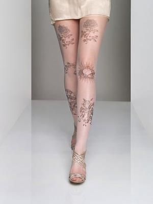 Jonathan Aston Tattoo print tulle tights from Sock Shop